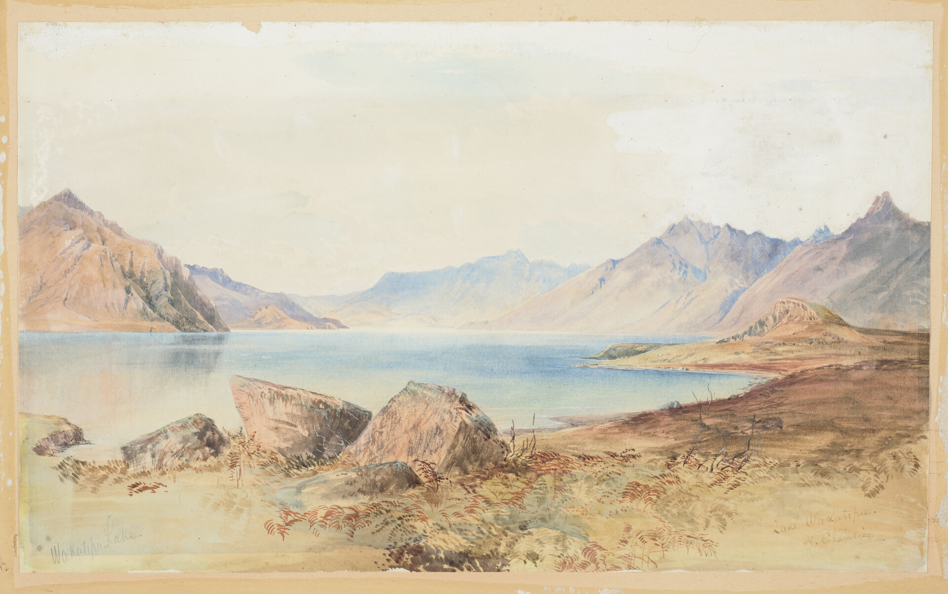 Lake Wakatipu - Nicholas Chevalier Watercolour