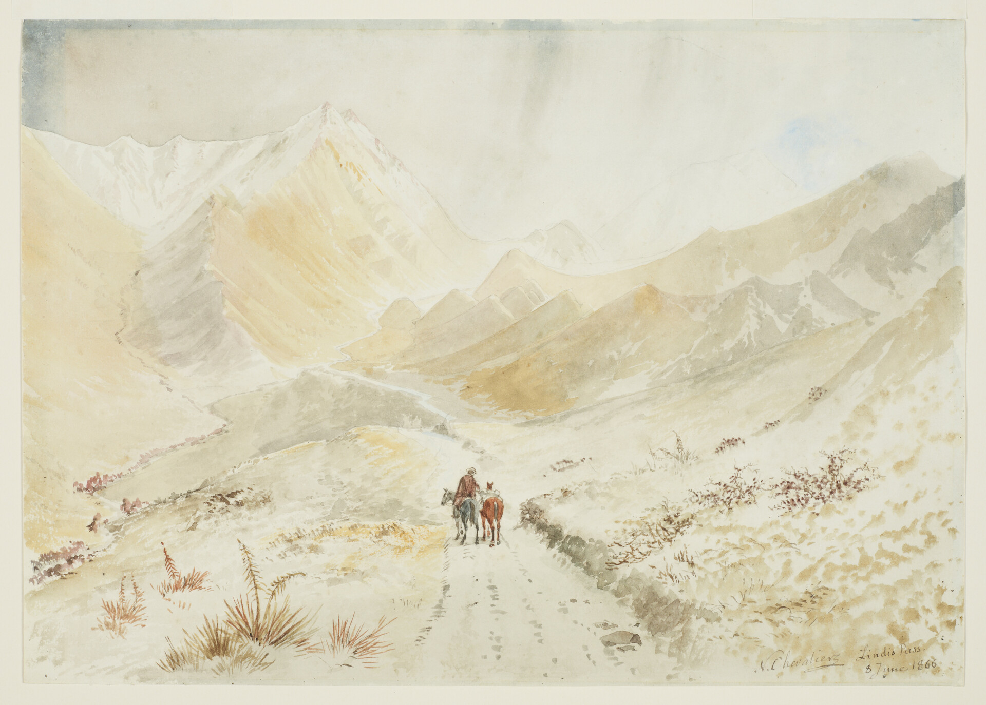 Lindis Pass - Nicholas Chevalier Watercolour