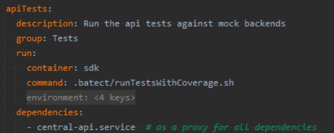 Batect APITest task configuration