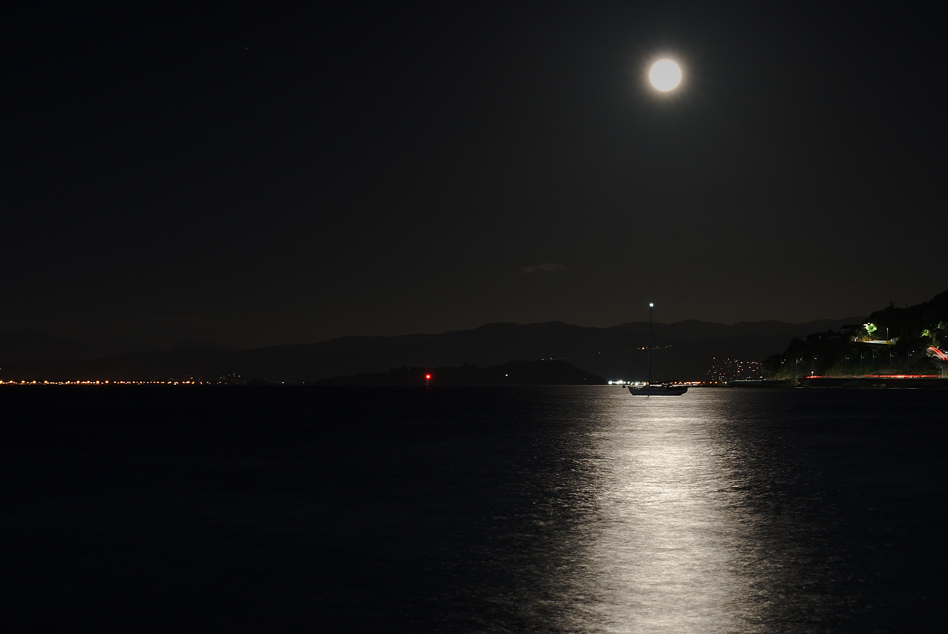 Later that night at Oriental Bay